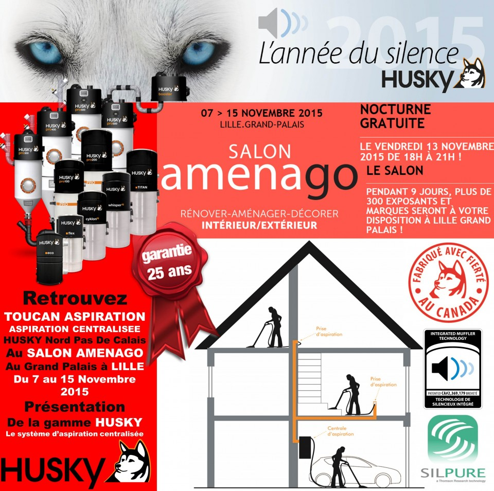 salon amenago 2015 lille aspiration centralis e husky. Black Bedroom Furniture Sets. Home Design Ideas