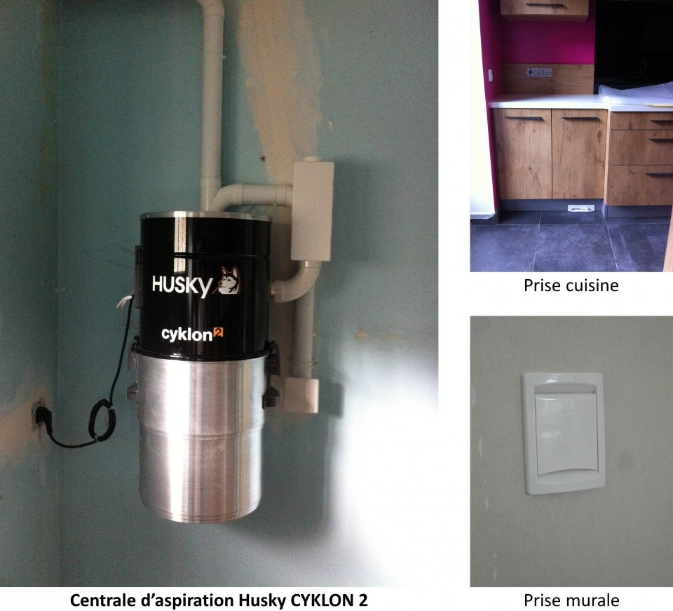 un système d'aspiration centralisée husky cyklon2 dans la manche (50