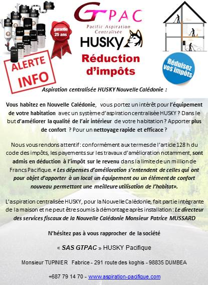 Husky Nouvelle Caledonie Reduction Impots Aspiration Centralisee